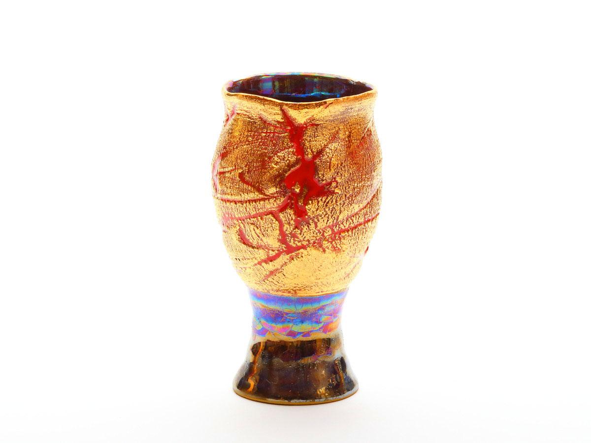 陶芸家中野拓が太陽をモチーフに創作した器 彩泥ゴールドラスター colored slip ware luster pottery ceramic art Solar Sun Flare-inspired created by a ceramist Taku Nakano