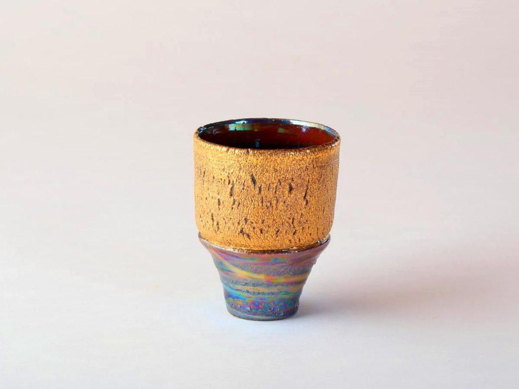 陶芸家中野拓が金星をモチーフに創作した器 彩泥ゴールドラスター colored slip ware luster pottery ceramic art Venus-inspired created by a ceramist Taku Nakano
