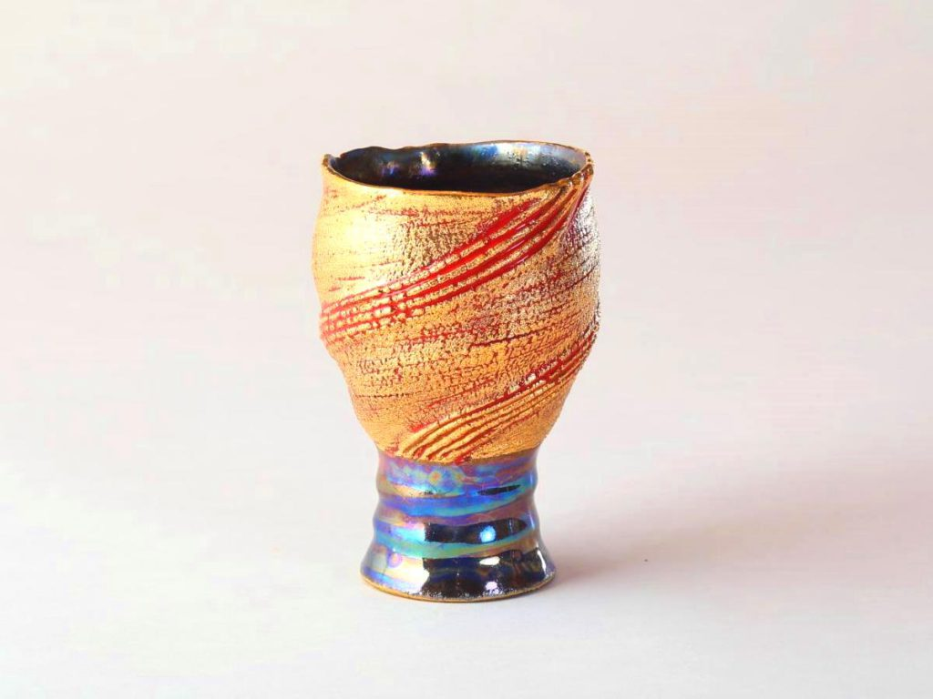 陶芸家中野拓が太陽をモチーフに創作した器 彩泥ゴールドラスター colored slip ware luster pottery ceramic art Solar Sun Prominence-inspired created by a ceramist Taku Nakano