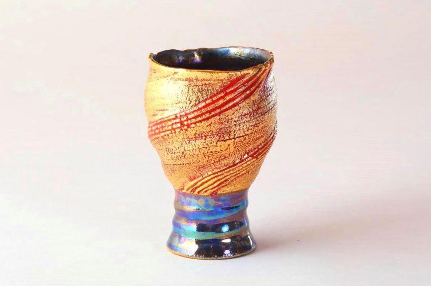 陶芸家中野拓が太陽をモチーフに創作した器 彩泥ゴールドラスター colored slip ware luster pottery ceramic art Solar Sun Prominence-inspired created by a ceramist Taku Nakano